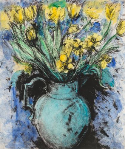 Jim Dine-Blue Vase, Yellow Flowers-1993