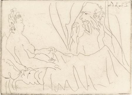 Pablo Picasso-Vieillard et femme couchee-1960