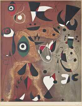 After Joan Miro, Femmes, Oiseaux and Etoile-1960