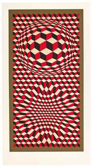 Victor Vasarely-(i) Vp-Cheyt 75;(ii) Untitled-1975
