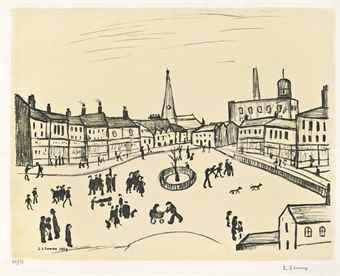 Laurence Stephen Lowry-Tree in the Square-1969