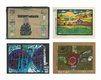 Friedensreich Hundertwasser-Nine plates, from Look at it on a rainy Day-1972