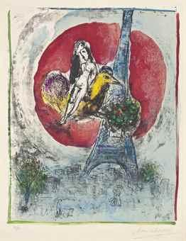 Marc Chagall-Les Amoureux de la Tour Eiffel-1960