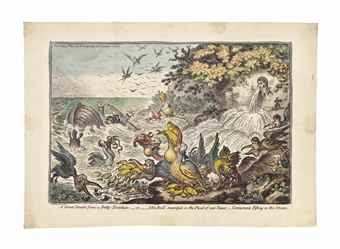 James Gillray-(i) A great Stream from a Petty-Fountain, or John Bull swamped in the flood of new Taxes, Cormorants Fishing in the stream; (ii) Comprising Uncorking Old Sherry; (iii) Harpyes defiling the Feast; (iv) German Luxury, or Repos a l'Allemande; (v) A Witch, upon a Mounts Edge, Vide Fuzelli; (vi) Governor Wall's Ghost!; (vii) The Bear and his Leader; (viii) Malagrida, driving Post; (ix) Venus a la Coquelle, or the Swan-sea Venus; (x) Clearing a five Bar Gate and Hounds-1808