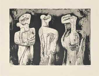Henry Moore-(i) Three standing figures; (ii) Eight sculptural ideas, Girl writing; (iii) Ideas for wood sculpture; (iv) Three heads; (v) Seated figures, from Nudes-1973