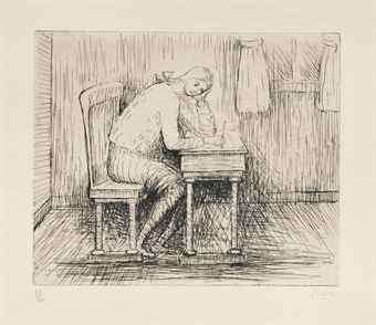 Henry Moore-(i) Girl doing homework I; (ii) Girl doing homework III; (iii) Girl doing homework V-1974