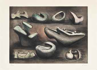 Henry Moore-Sculptural Ideas I, from Sculptural Ideas-1980