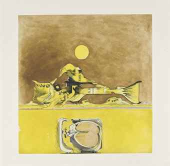Graham Sutherland-Form in a desert (i) Brown and Yellow; (ii) Red and Yellow-1973