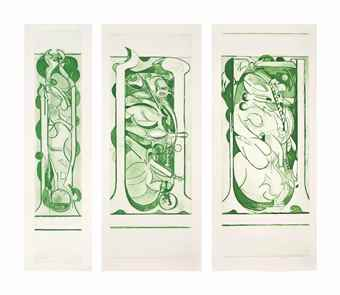 Graham Sutherland-Pupa I, II and III Green-1977