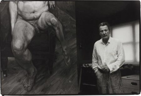 Bruce Bernard-Lucian Freud With A Portrait Of Leigh Bowery-1990