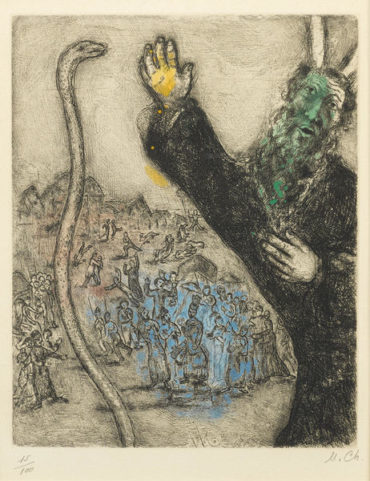 Marc Chagall-Moise et le serpent, pl. 28, from La Bible-1939