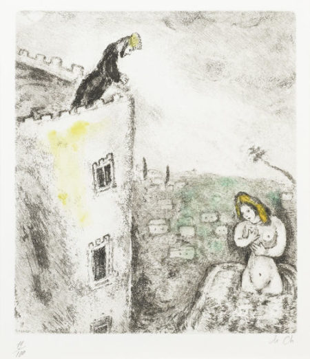Marc Chagall-David et Bath-Scheba, pl. 69, from La Bible-1939