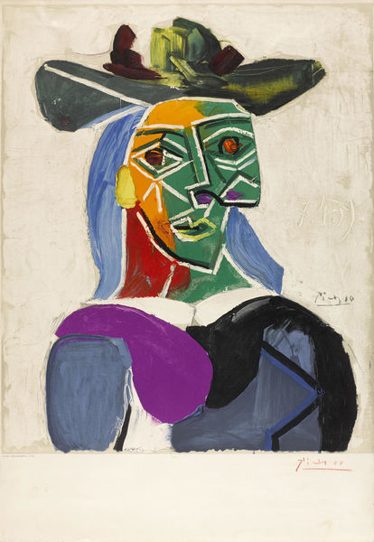 Pablo Picasso-After Pablo Picasso - Tete de Femme au Chapeau-1956