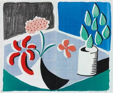David Hockney-Red Flowers And Green Leaves, Separate, May-1988