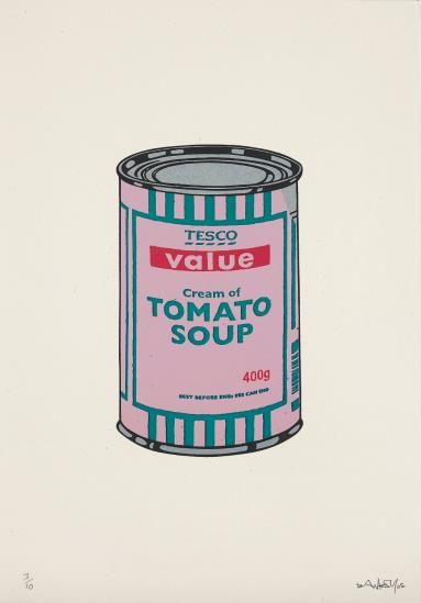 Banksy-Soup Can (Pink/Emerald/Rasberry)-2005