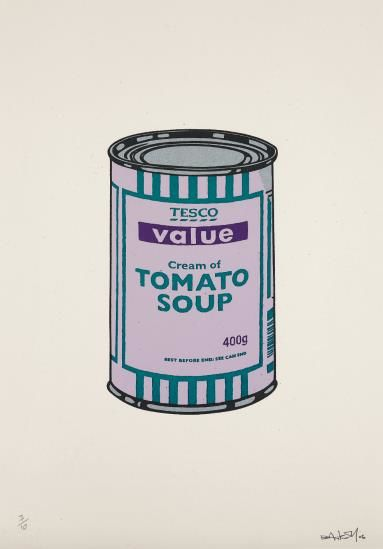 Banksy-Soup Can (Lilac/Emerald/Purple)-2005