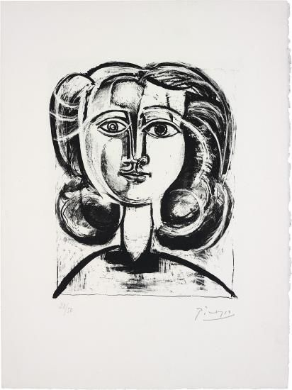 Pablo Picasso-Tete De Jeune Fille (Head Of A Young Girl)-1945