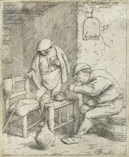 Adriaen van Ostade-The Smoker and the Drinker (B., Holl., G. 24a)-1682