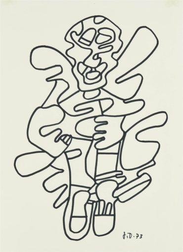 Jean Dubuffet-Personnage costume (dessin pour le programme de Coucou Bazar, edite par le Guggenheim Museum de New York)-1973