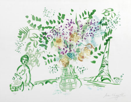 Marc Chagall-Bouquet Vert et Violet-1959