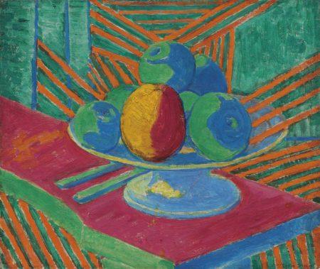 Matthew Smith-Fruit in a Bowl, Striped Background (II)-1913
