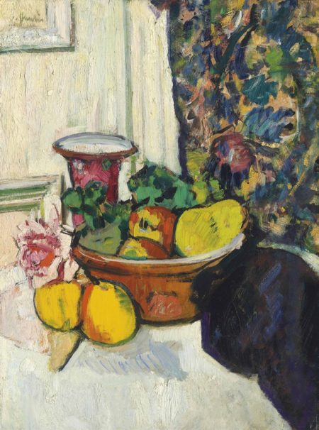George Leslie Hunter-Still Life with Fruit, a Rose and a Pink Vase-1925