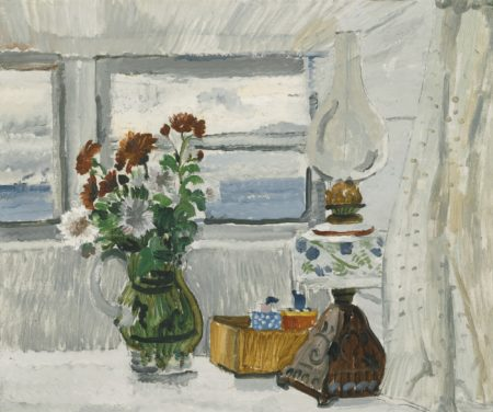 Christopher Wood-Flowers And Lamp In A Cornish Window-1928