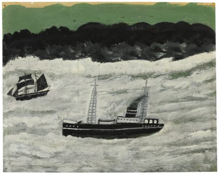 Alfred Wallis-Steamer And Sailing Boat Along Coast-