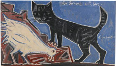 John Craxton-Cockerel And Cat-1957