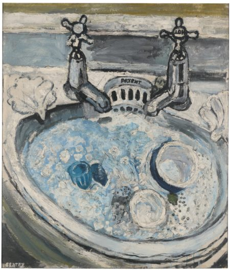 John Bratby-Breakfast Things In A Hand Basin With Water Bubbles And Soap-1955
