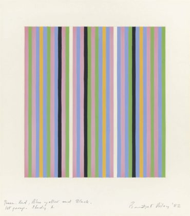 Bridget Riley-Green, Red, Blue, Yellow and Black. 1st Group. Study A-1982