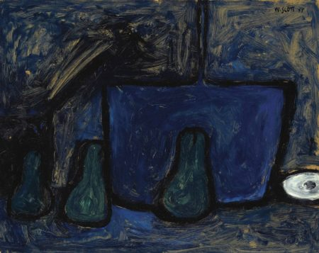 William Scott-Green Pears and Blue Pot-1955
