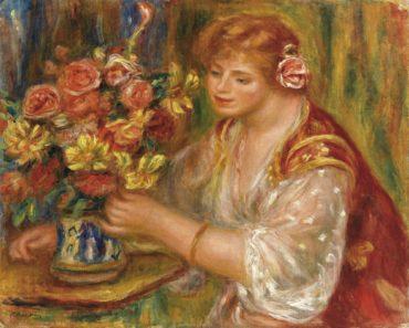 Pierre-Auguste Renoir-Femme Arrangeant Des Fleurs Or La Femme Au Bouquet - Andree-1917