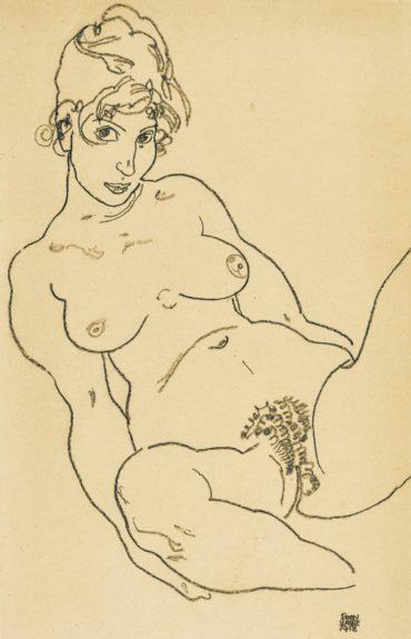 Egon Schiele-Weiblicher Akt Mit Gespreizten Beinen (Female Nude With Legs Spread)-1918