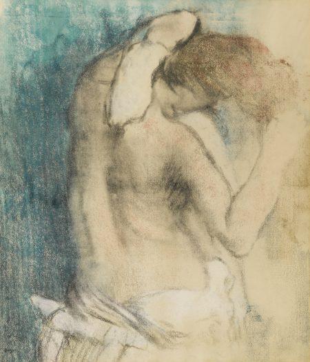 Edgar Degas-Femme Nue, Debout, Vue A Mi-Corps Et S'Essuyant Le Cou-1908