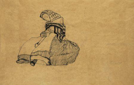 Egon Schiele-Sitzende Bauerin (Seated Peasant Woman) - Recto Studie Von Dachern (Study Of Roofs) - Verso-1910