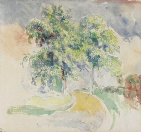 Pierre-Auguste Renoir-La Route Entre Les Arbres - Recto Etude De Fleurs - Verso-1895