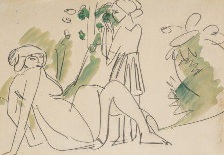 Ernst Ludwig Kirchner-Zwei Frauen In Landschaft (Am Boden Hockender Weiblicher Akt) (Two Women In A Landscape (Female Nude Seated On The Ground))-1911