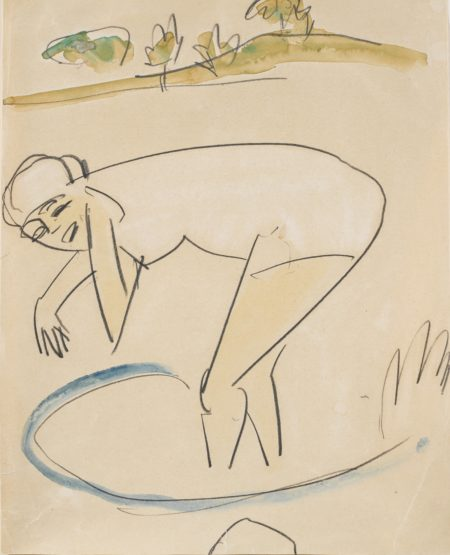 Ernst Ludwig Kirchner-Badende Am Ufer (Bather By The Water's Edge)-1911