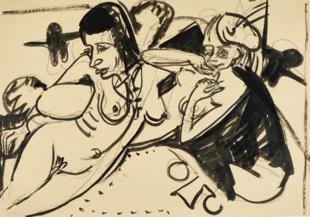 Ernst Ludwig Kirchner-Zwei Liegende Weibliche Akte (Two Reclining Female Nudes)-1916