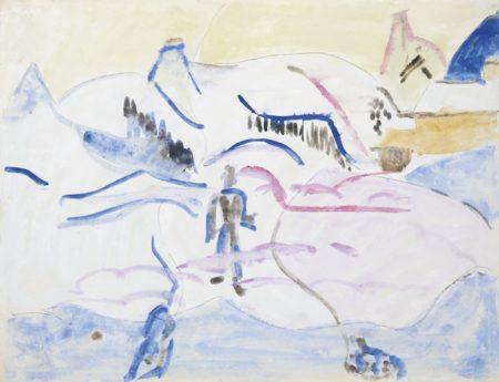 Ernst Ludwig Kirchner-Winterlandschaft Mit Figuren (Landschaft Bei Davos) (Winter Landscape With Figures (Landscape Near Davos))-1930