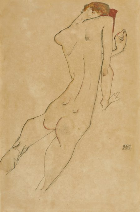 Egon Schiele-Weiblicher Ruckenakt (Female Nude, Back View) - Recto Sitzender Weiblicher Akt (Seated Female Nude) - Verso-1913
