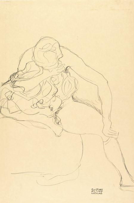 Gustav Klimt-Sitzender Weiblicher Akt Auf Bett (Female Nude Sitting On Bed)-1912