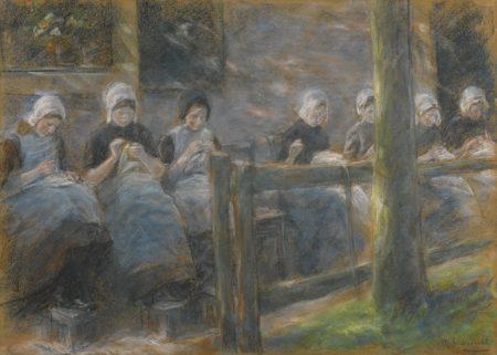Max Liebermann-Nahende Madchen In Huyzen (Sewing Girls In Huyzen)-1895