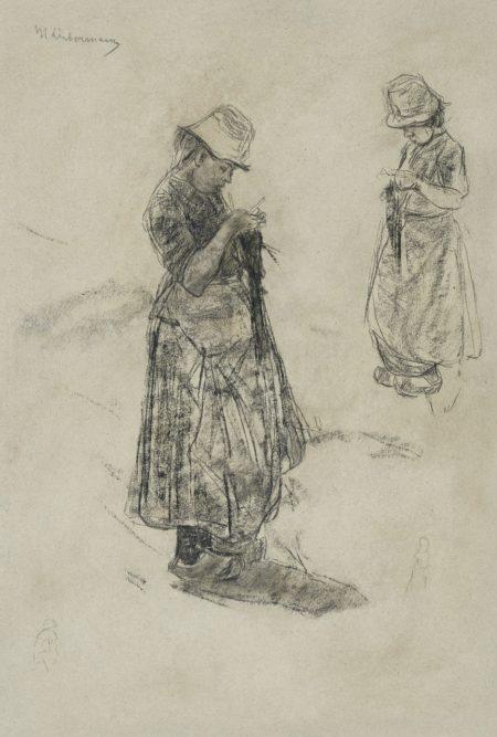 Max Liebermann-Strickende Madchen (Girls Knitting)-1887