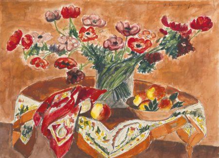 Andre Dunoyer de Segonzac-Anemones Sur Fond Rouge-1957
