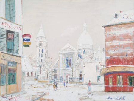 Maurice Utrillo-Le Sacre-Cœur De Montmartre Et L'Eglise Saint-Pierre Sous La Neige-1940