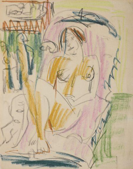 Ernst Ludwig Kirchner-Weiblicher Akt Im Sessel (Im Liegestuhl)(Female Nude In Armchair (On A Reclining Chair)) - Recto Akt Im Waschzuber (Nude In A Bath Tub) - Verso-1922