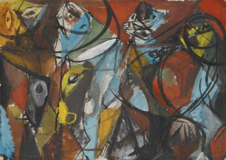 Ernst Wilhelm Nay-Manner Mit Stier (Men And Bull) - Recto Abstrakte Figur (Abstract Figure) - Verso-1947
