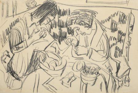 Ernst Ludwig Kirchner-Zwei Nahende Frauen Am Tisch (Two Sewing Women At The Table)-1924